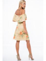 Medené šaty s volánom a odhalenými ramenami