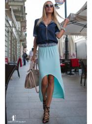 Mentolová asymetrická sukňa