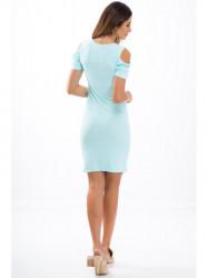 Mentolové elastické šaty s odhalenými ramenami 3556