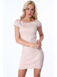 Metalické dámske šaty 386, ružové