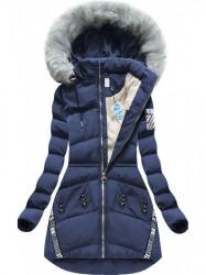 Modrá zimná dlhá bunda  (2505)