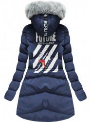 Modrá zimná dlhá bunda  (2505) #1