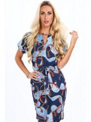 Modré dámske elegantné šaty 20610