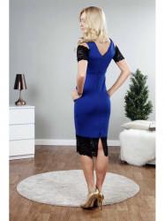 Modré šaty s čiernou čipkou