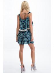 Modré vzorované šaty