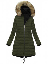 Obojstranná dámska zimná bunda W212, čierna/khaki