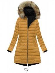 Obojstranná dámska zimná bunda W212, čierna/žltá