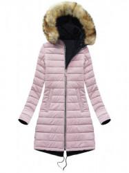 Obojstranná dámska zimná bunda W212, modrá/ružová