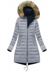 Obojstranná dámska zimná bunda W212, modrá/sivá