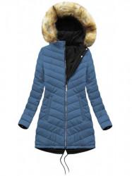 Obojstranná zimná bunda W214BIG, čierna/modrá