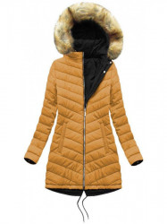 Obojstranná zimná bunda W214BIG, čierna/žltá