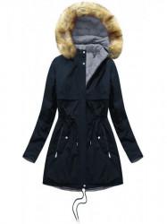 Obojstranná zimná bunda W214BIG, modrá/sivá