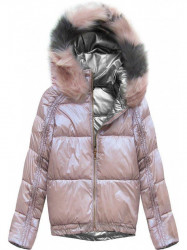 Obojstranná zimná bunda X921X ružová/ strieborná