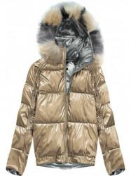 Obojstranná zimná bunda X921X zlatá