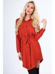 Oranžové dámske košeľové šaty 5065