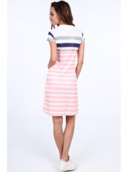 Pásikavé dámske polo šaty 7578, ružové/granátové