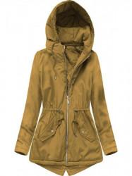 Prechodná dámska bunda s kapucňou B2661 horčicová
