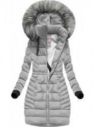 Prešívaná šedá zimná bunda (W143)