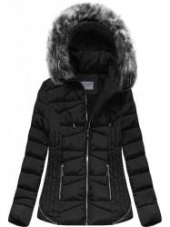 Prešívaná zimná bunda s kapucňou B2631 čierna