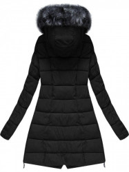 Prešívaná zimná bunda s kapucňou, čierna X1728X