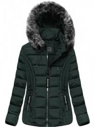 Prešívaná zimná bunda s kapucňou R2618 zelená