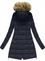 Prešívaná zimná bunda s kapucňou, tmavo modrá X1728X