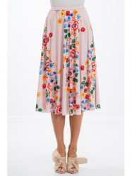 Pudrová sukňa s kvetinami #1