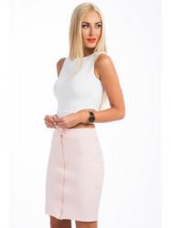 Pudrovo-ružová, elegantná zostava sukne a topu