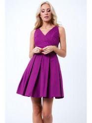 Purpurové šaty s okrasnými kamienkami, G50111