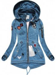 Riflová bunda s nášivkami W523, svetlo modrá