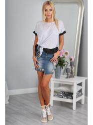 Riflová sukňa s nášivkami #2