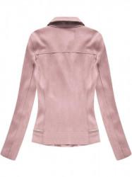 Ružová dámska semišová bunda 6009