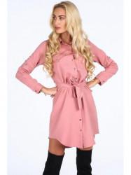 Ružové dámske košeľové šaty 5065