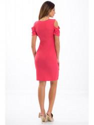 Ružové elastické šaty s odhalenými ramenami 3556