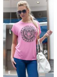 Ružové tričko s nádpisom