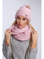 Ružový dámsky set čiapka + šál C24