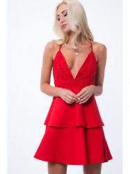 Šaty s hlbokým výstrihom ZZ310, červene