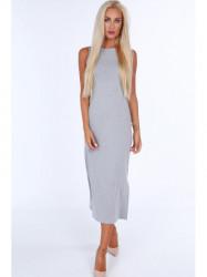 Šaty s hrubými ramienkami 40070, sivé