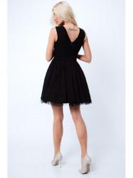 Šaty s okrasnými ramienkami G5275, čierne