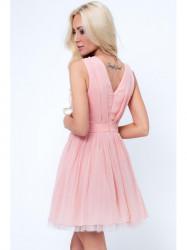 Šaty s okrasnými ramienkami G5275, ružové
