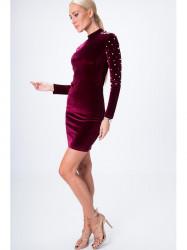 Šaty s perlami bordové 6495 #2