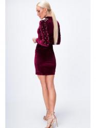 Šaty s perlami bordové 6495 #4