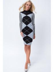 Šaty so vzormi MP32218, čierno-šedé