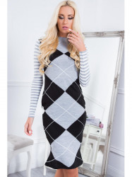 Šaty so vzormi MP32218, šedo-čierne