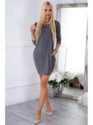 Šedé BASIC šaty s vreckami 9988