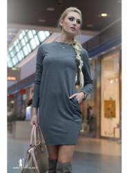 Šedé mini šaty s dlhým rukávom