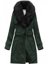 Semišový kabát s viazaním v páse 6515 zelený