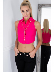 Sexi, košeľový, ružový croptop