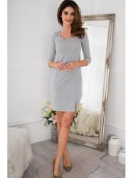 Sivé šaty s rozparkom