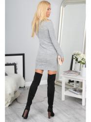 Sivé šaty s výstrihom